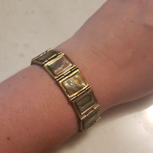 Vintage Abalone and brass bracelet